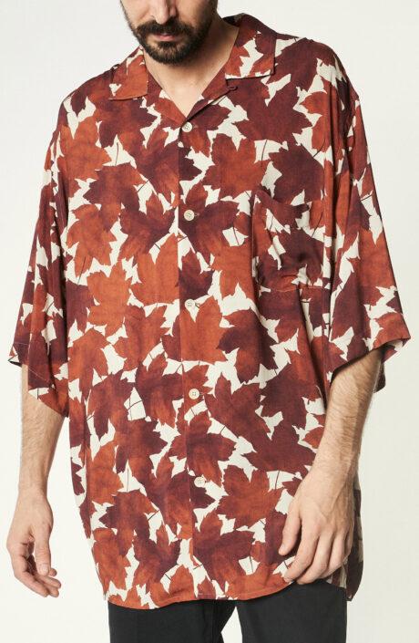 Kurzärmliges Hemd mit orangefarbenem Blätter-Print