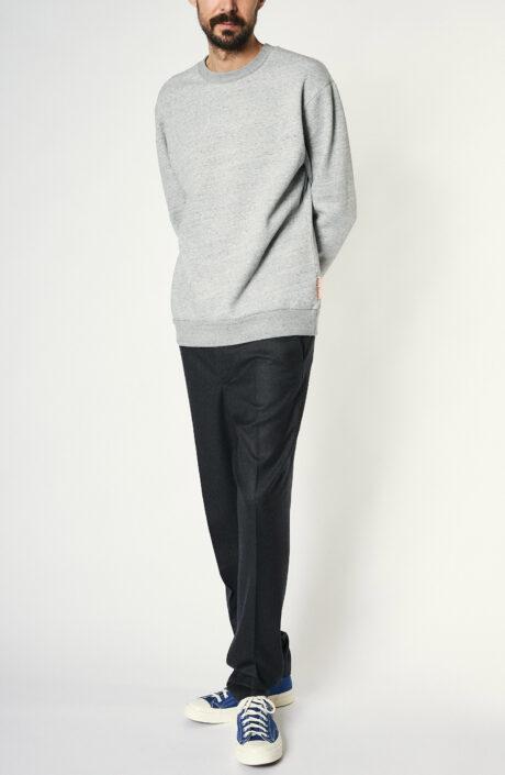 Grau melierter Sweater aus Baumwollgemisch