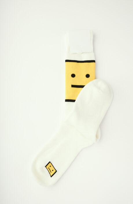 Weiße Socken mit gelbem Face-Print