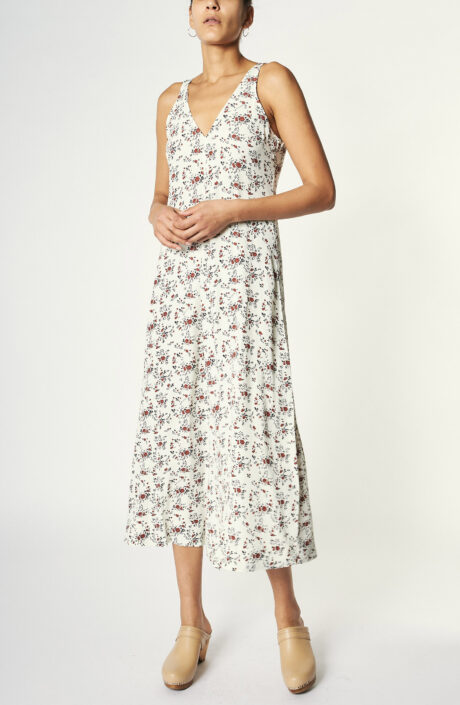 Cremefarbenes Trägerkleid mit Floralprint
