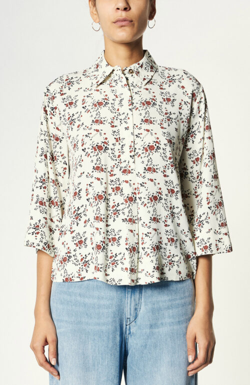 Cremefarbenes Hemd mit Floralprint