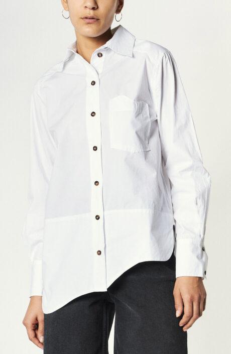 Weißes Hemd aus Baumwolle mit asymmetrischem Saum