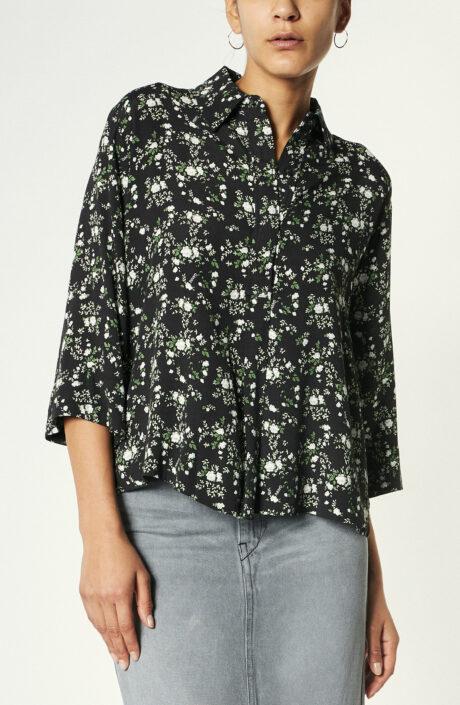 Schwarze Bluse mit Floralprint