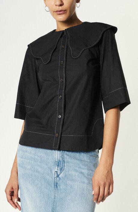 Schwarze Bluse aus Baumwoll-Popeline mit Bubi-Kragen