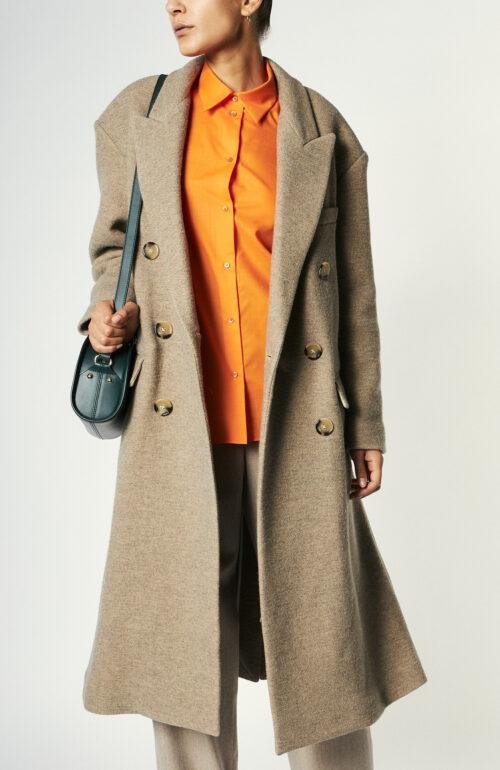 """Beigefarbener Mantel """"Lojima"""" aus Wollmix"""