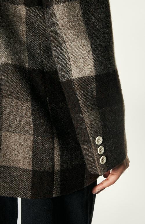 Braun kariertes Sakko aus Wolle