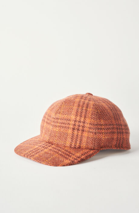"""Orange karierte Cap """"Chamar"""" aus Schurwolle"""