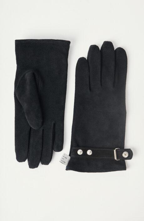 """Schwarze Handschuhe """"Oreti"""" aus Velourseder"""