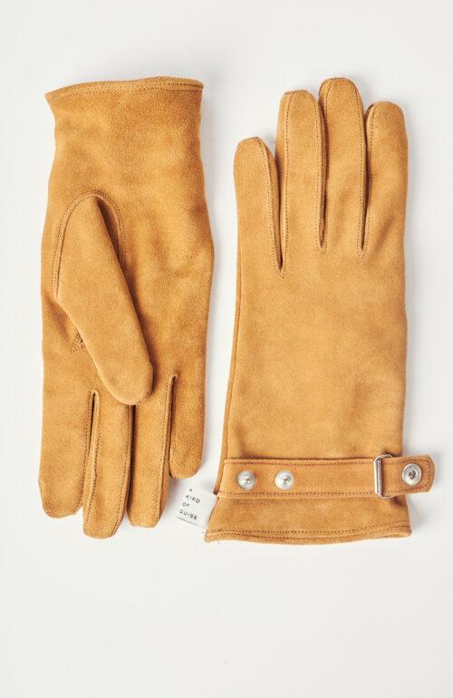 """Cognacfarbene Handschuhe """"Oreti"""" aus Velourseder"""