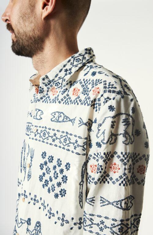 """Weißes Hemd """"Flores"""" mit Stickerei"""
